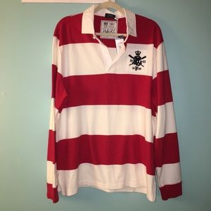 Women's polo striped rugby shirt